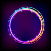 Rainbow glowing circle frame with sparkles — Stock vektor