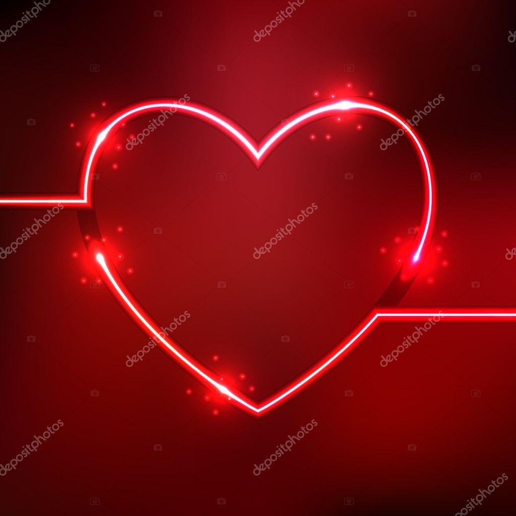 Abstracte achtergrond met hart neon lijnen van een shape ...