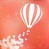 Hot air balloon with flying hearts. Romantic silhouette card — Stock Vector