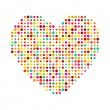 Various multicolored dots heart. Magenta, Cyan, yellow and green transparency elements. — Stock Vector #39914891