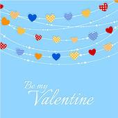 Valentijn achtergrond met vreugdevolle hart bunting — Stockvector