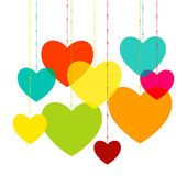 Various multicolored hearts. Magenta, Cyan, yellow and green transparency elements. — Stock Vector