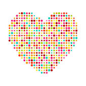 Various multicolored dots heart. Magenta, Cyan, yellow and green transparency elements. — Stock Vector