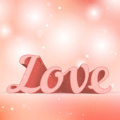 Realistic 3d pink Love sign. Typography card — Stock Vector