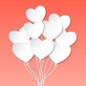 Valentines Day Heart Balloons on pink background — Stock Vector