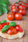 Fresh bruschetta with tomato and basil — Stock Photo