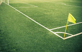 Soccer field. Corner of a Soccer field with vivid Green Grass as Copy Space. — Stock Photo
