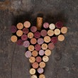 Bunch of wine corks imitating grape — Stock Photo