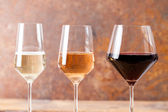 Three goblets with many types of win — Stock Photo