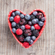 Heart of red fruit — Stockfoto