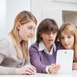 Girls Group Young Students Learning with Tablet — Stockfoto