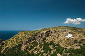 Upland with white church, Greece — Stock Photo