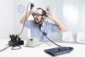 Stressful work on the phone — 图库照片