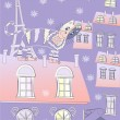 Royalty-Free Stock Vector Image: Cat on a Roof of Winter Paris