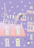 Cat on a Roof of Winter Paris — Stock Vector