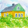 Stock Photo: RussiCountry.Yellow House