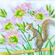 Squirrel and Pink Lilies Flowers — Stock Photo