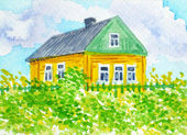 Russian Country.Yellow House — Stock Photo