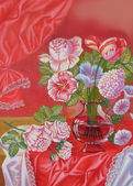 Still life with Roses and Vase on the Red Background — Stok fotoğraf
