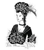 Black Elegant Lady iris — Stock Vector