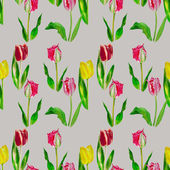 Seamless pattern with red and pink tulips — Stock Photo