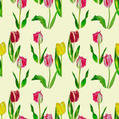 Seamless pattern with yellow and red tulips — Stock Photo