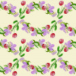 Seamless pattern with hyacinths and red tulips — Stock Photo