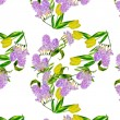 Stock Photo: Seamless pattern with lilac and yellow tulips