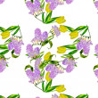 Seamless pattern with lilac and yellow tulips — Stock Photo #32066537