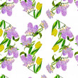 Seamless pattern with lilac and tulips — Stock Photo