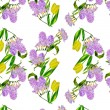 Stock Photo: Seamless pattern with lilac and tulips
