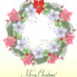 Christmas Wreath with  Poinsettia Flowers — Stock Vector