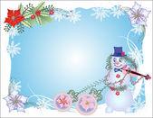 Fundo de natal com boneco de neve e bolas azul — Vetor de Stock