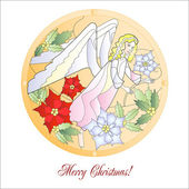 Card with Christmas Vitrail with Angel — Stock Vector