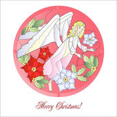 Christmas Vitrail Red with Angel — Stock Vector