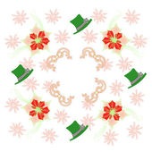 Pattern with Poinsettia, Green Hat and Snowflakes. Vector Illustration — ストックベクタ