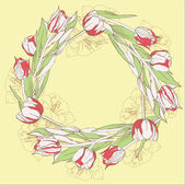 Wreath with red white tulips — Stock Vector