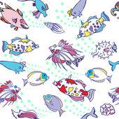 Padrão sem emenda branco com peixes de cor — Vetor de Stock