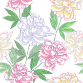 White Seamless pattern  with peonies_нач_лучш — Stock Vector