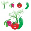 Vegetables laugh — Stock Vector