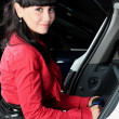 Charming young woman in a car — Stock Photo #24386573