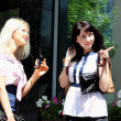Two charming young woman going shopping — Foto de Stock