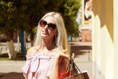 Young woman at the shopping — Stock Photo