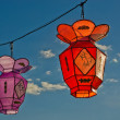 2 colorful Chinese Paper Lanterns — Stock Photo