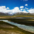 River and mountain landscape in Tibet — Стоковое фото