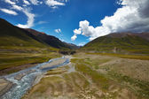 River and mountain landscape in Tibet — Stock Photo
