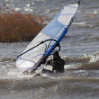 Waterstart windsurfing  trick — Stock Photo