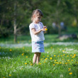 Little girl exploring dandelion — Stockfoto