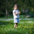 Little girl exploring dandelion — Photo