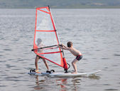 Windsurfing tandem — Stock Photo
